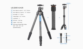 Leofoto Ranger Series LS-224C with LH-25 Ballhead Tripod Kit