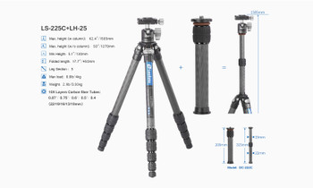 Leofoto LS-225C+LH-25 22mm 5 section Compact Carbon Fibre Tripod w/ Ballhead