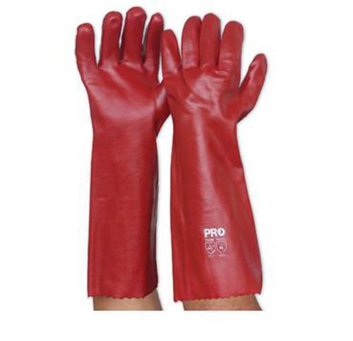 RED PVC 45CM GLOVE