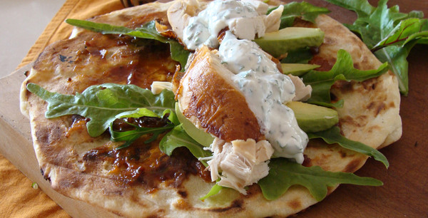 Indian Naan Wrap with Chicken, Tamarind & Mint