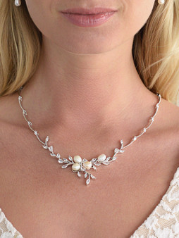 Jill 212 Freshwater Pearls in CZ Leaves Neck Set