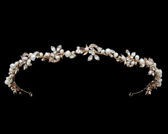 dainty rosegold headband  with rhinestones and freshwater pearls also available in silver
