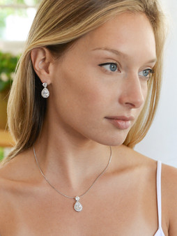 ma 4550 $39  CZ Halo Pear Shaped Necklace and Earrings