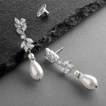 Cubic Zirconia and Teardrop Pearl Designer Bridal Earrings  M4646E