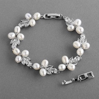 Genuine Freshwater Pearl  Wedding Bracelet with CZ  M4642B $69