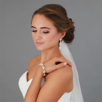Genuine Freshwater Pearl Gold Wedding Bracelet with CZ 4642B $69