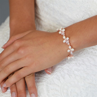 Genuine Freshwater Pearl Rose Gold  Bracelet with CZ 4642B $69