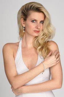 Elegant Cubic Zirconia Multi-Shape Bridal Bracelet and Earrings Set in 14K Gold  M4588BS $39