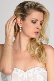Elegant Cubic Zirconia Multi-Shape Bridal Bracelet and Earrings Set Rose Gold  M4588BS $39
