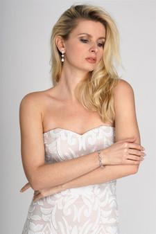Elegant Cubic Zirconia Multi-Shape Bridal Bracelet and Earrings Set M4588BS $39