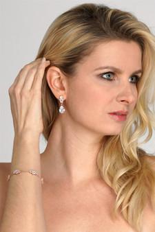 Cubic Zirconia Multi-Shape Bridal Bracelet and Earrings Set M592BS $39