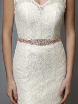 Stunning Rose Gold Bridal Sash 4609B  $99