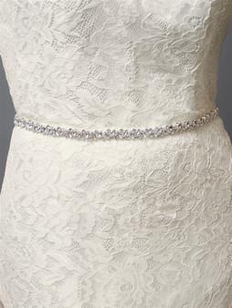 Slender  Bridal Belt with Austrian Crystals  4610B $59