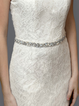Silver Mosaic Bridal Belt with White Opal Crystals 4611B $89