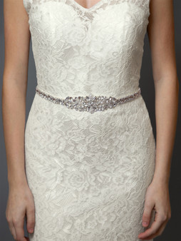 Tapered Silver Bridal Belt with Austrian Crystals and Ivory Pearls 4612BT $89
