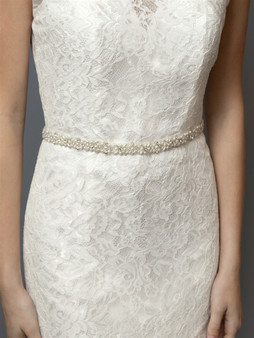Ivory Pearl and Austrian Crystal Bridal Belt with Ribbon 4614BT $59