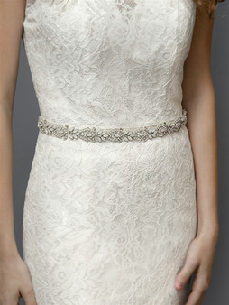 Silver Applique Bridal Belt with White Opals, Ivory Pearls & Austrian Crystal with Ivory Ribbon 4615BT $89