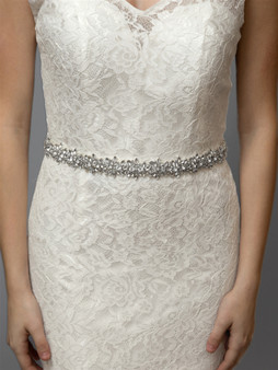 Dazzling Crystal Bridal Belt with Jewelled Clusters & Ivory Ribbon 4616BT $99