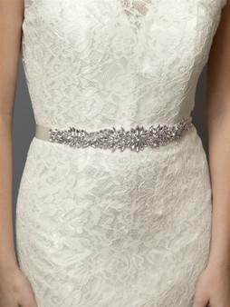 Silver Bridal Belt with Austrian Crystal Sunbursts  4617BT $89
