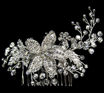 emme cb 286 Rhinestone Floral Comb