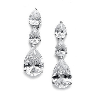 Abg 2770 Cubic Zirconia Triple Pears Drop Bridal Earrings