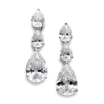Abg 2770 Cubic Zirconia Triple Pears Drop Bridal Earrings
