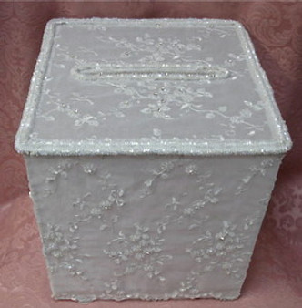 White Rhinestone Beaded Box  RENTAL