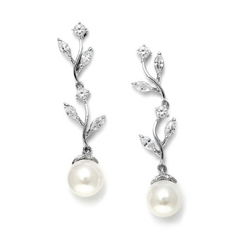 Climbing CZ Vine Wedding Earrings with Pearl Drop ABG 5384