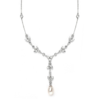 Freshwater Pearl & Cubic Zirconia Necklace MA 3638n