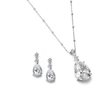 Brilliant CZ Pear Shaped Drop Necklace Set MA 293s