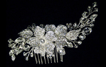emme cb 221 Silver Floral Haircomb