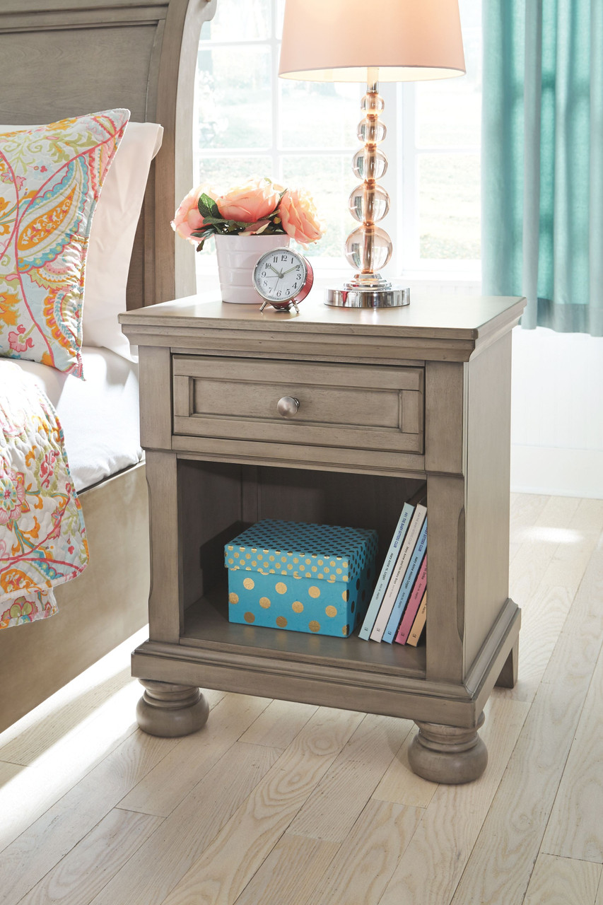 The Lettner Light Gray One Drawer Night Stand Available At Riley S Rooms Serving Tecumseh And Windsor On