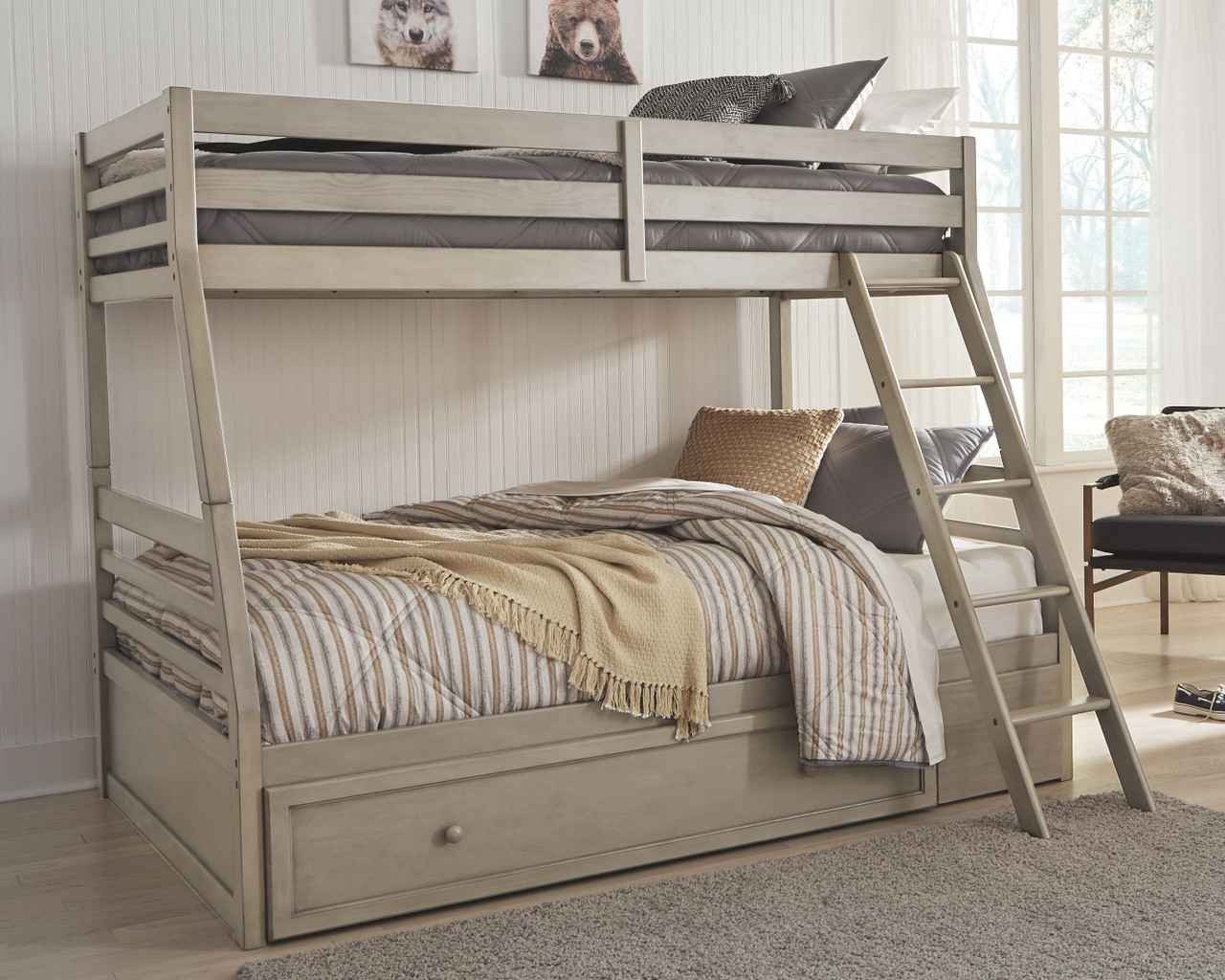 The Lettner Light Gray Twin Over Full Bunk Bed With 1 Large Storage Drawer Available At Riley S Rooms Serving Tecumseh And Windsor On
