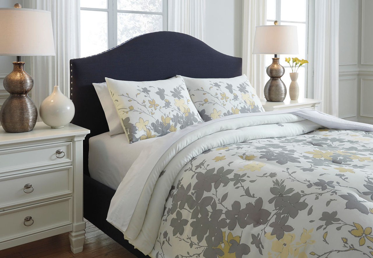 The Maureen Gray Yellow King Comforter Set Available At Riley S Rooms Serving Tecumseh And Windsor On