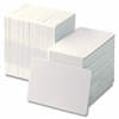 104523-010 Zebra white PVC cards, 10 mil PVC adhesive back with 14 mil Mylar release liner, 24 mil total thickness (500 cards)
