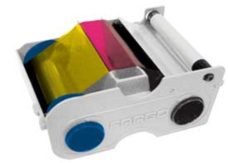 44200 Fargo Persona YMCKO Full-color ribbon w/ cleaning roller, resin black & clear overlay panel - 250 images