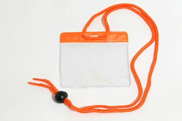 Brady 1860-2805 Vinyl Horizontal Holder with Orange Color Bar and Neck Cord