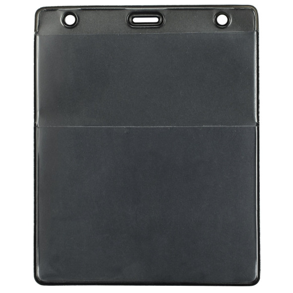 Brady 1860-4001 Black Vinyl Vertical Credential Wallet with Slot and Chain Holes
