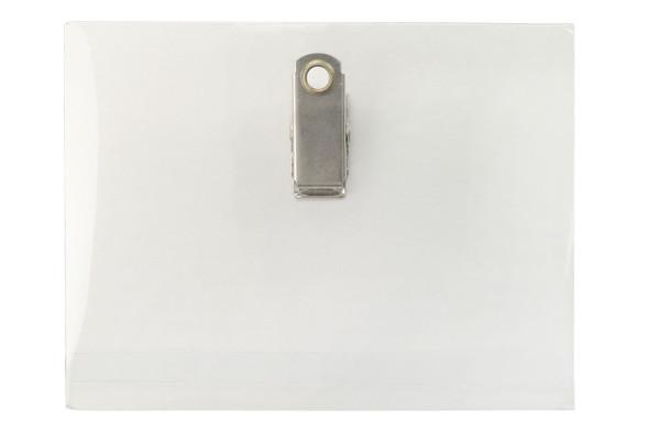 Brady 208-C Clear Rigid Vinyl Horizontal Name Tag Holder with Clip Back