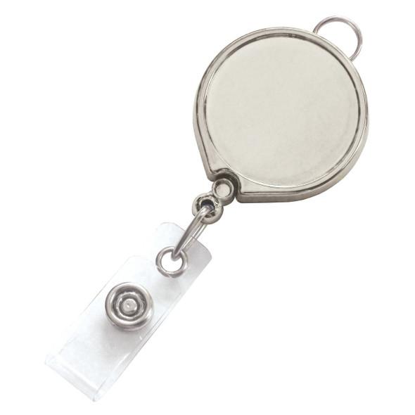 Brady 2124-3028 Chrome Metallic Badge Reel with Clear Vinyl Strap & Belt Clip