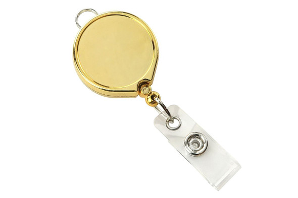 Brady 2124-3029 Gold Metallic Badge Reel with Clear Vinyl Strap & Belt Clip