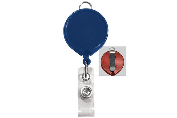 Brady 2124-3032 Blue Badge Reel with Clear Vinyl Strap & Belt Clip