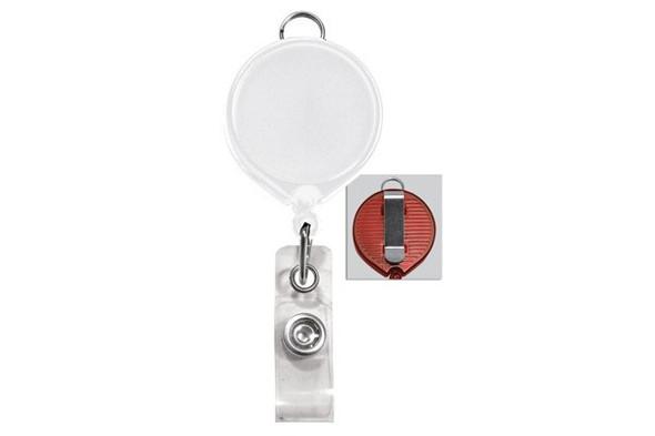 Brady 2124-3038 White Badge Reel with Clear Vinyl Strap & Belt Clip