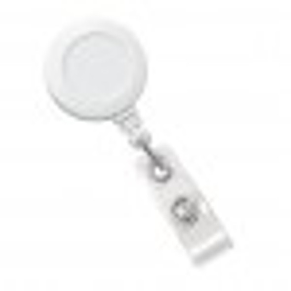 Brady 2120-3038 White Badge Reel with Clear Vinyl Strap & Belt Clip