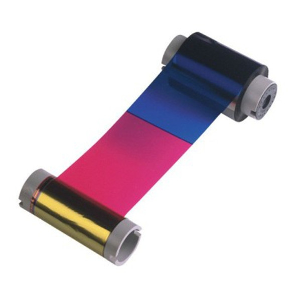 44230 Fargo YMCKO Full-Color ribbon w/ cleaning roller: resin black & clear overlay panel - 250 Images