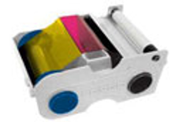 Fargo YMCKO Full-color ribbon w/ Cleaning Roller, resin black & clear overlay panel - 250 images