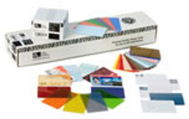 104523-020 Zebra white PVC 30 mil cards, 3-Up breakaway key tags, (500 cards)
