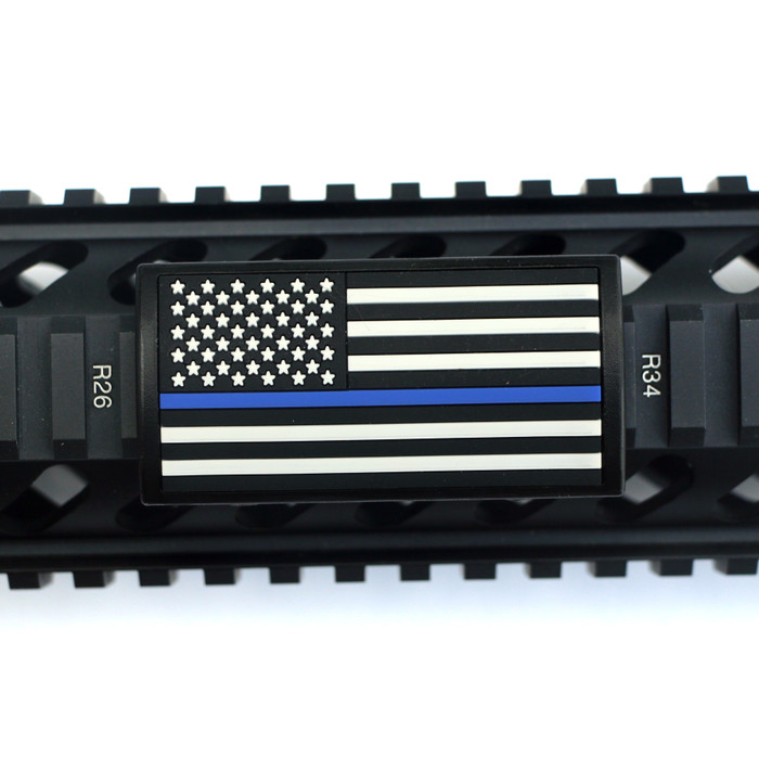 Blue Line Flag Stars Left Picatinny - Black Retainer