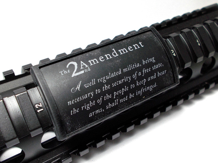 SECOND AMENDMENT, L LASER ENGRAVED ALUMINUM