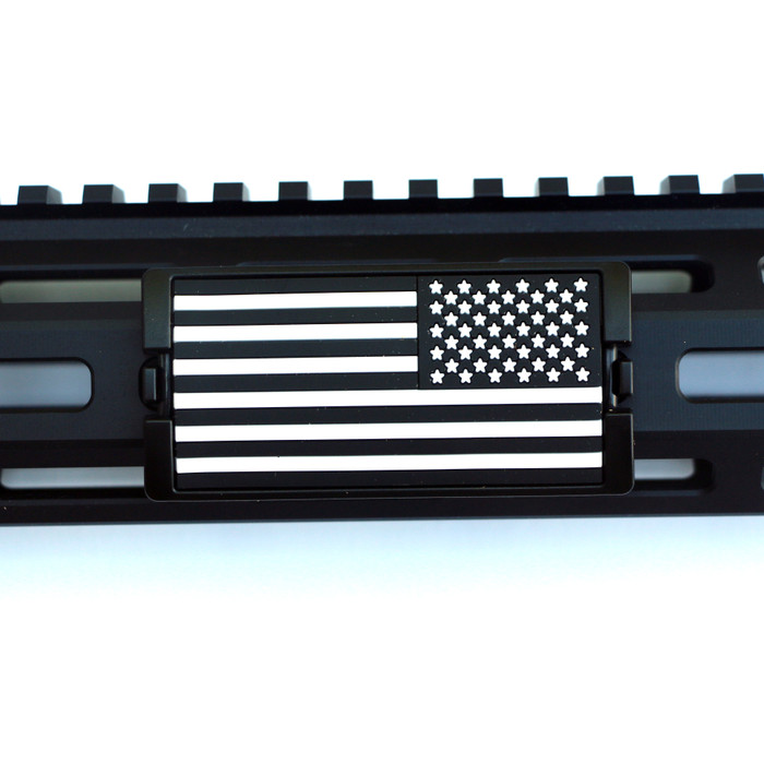 Black & White US Flag Stars Right KeyLok Rail Cover- Black Retainer